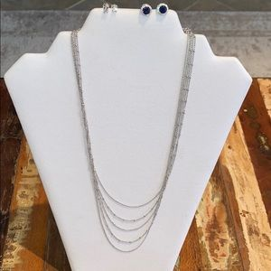 Sterling Silver CZ Earrings & Necklace Bundle-NWOT